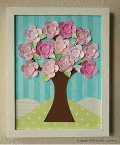 Hoy os propongo realizar unos decorativos cuadros para decorar habitaciones infantiles, con un poco de papel y fieltro.       Vía Decoracaod...