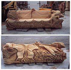Chainsaw carved Frog and Butterfly Bench www.treesculpting.co.uk