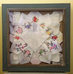 Display fancy antique handkerchiefs in a Shadowbox.