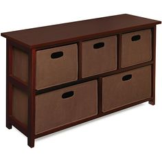 Wooden Cherry Storage Cabinet with 5 Baskets: This Attractive Design Storage ...