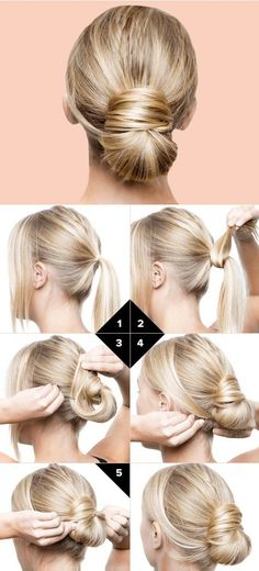 ▷ ideas on how to make effective updos yourself .- ▷ Ideen, wie Sie effektvolle Hochsteckfrisuren selber machen copy-blonde-smooth-hair-pin up-manual-hairstyle-making updo hairstyles-for-itself- - Natural Hair Mask, Natural Hair Styles, Short Hair Styles, Bun Styles, Real Human Hair Extensions, Extensions Hair, Trendy Hairstyles, Bun Hairstyles For Long Hair, Easy Hairstyle