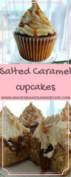 A recipe for salted caramel cupcakes. A yummy moist cupcake with salted caramel buttercream and a salted caramel filling. (frosting for cookies salted caramels) Brownie Desserts, Köstliche Desserts, Delicious Desserts, Yummy Food, Cupcake Recipes, Cupcake Cakes, Dessert Recipes, Cupcake Ideas, Salted Caramel Cupcakes