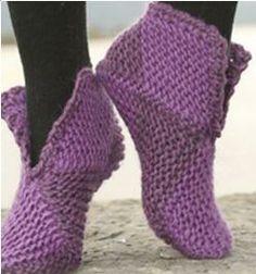 Tejido Facil: Primer proyecto: botitas/ pantuflas para principiantes chaussons en tricot
