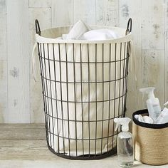 """Linen Lined Wire Hamper - Round #westelmOverall product dimensions: 18.1""""diam. x 22""""h.  $47"""