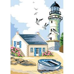Canevas maison et phare breton – Luc Création – 2020 World Travel Populler Travel Country Watercolor Landscape, Landscape Art, Landscape Paintings, Watercolor Paintings, Lighthouse Painting, Easy Canvas Painting, Seascape Paintings, Pictures To Paint, Painted Rocks