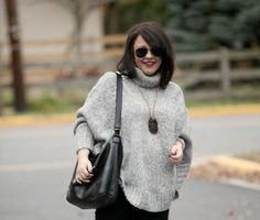 Wardrobe Oxygen What I Wore: Statement Sweater featuring Isabella Fiore bag and Stella and Dot pendant Chic Black Outfits, Casual Outfits, Rocker Chic Outfit, Metallic Jacket, Petite Fashion, Women's Fashion, Poncho Sweater, Latest Outfits, Trendy Dresses