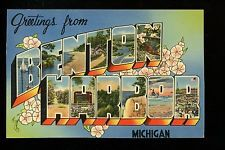 Large Letter linen postcard Benton Harbor, Michigan MI Tichnor 66312 Vintage