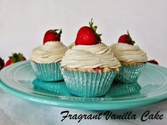Raw Strawberries and Cream Cupcakes from Fragrant Vanilla Cake
