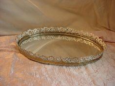 vtg Hollywood Regency Vanity Tray w Mirror Gold tone Ornate Shabby 9 by 14 A630