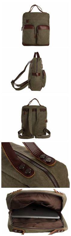 """Vintage Canvas Backpack - Genuine Leather Shoulder Bag - Fit 14"""" Laptop"""