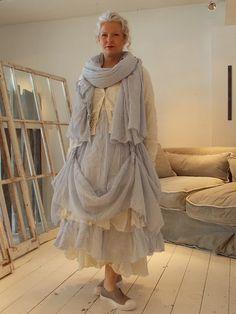Ewa i Walla Stripe and Plain Cotton Long Sleeve Dress 55406