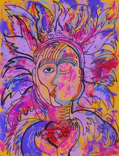 Original art painting of San and Moon Mexican Mask by MyMexicanArt, $89.00