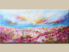 Paisaje pintura, pintura abstracta, pintura de la flor, arte abstracto, paisaje abstracto, pintura colores, comedor, decoración, jardín