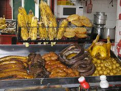FRITANGA COLOMBIAN FOOD. Mazorca o chocolo,arepas, gallina criolla, bofe, chorizo, morzillla platano dulce con queso, papita criolla.
