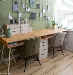 IKEA hack: bureau op schragen | InteriorTwin Bureau Design, Workspace Design, Home Office Design, Home Office Decor, Home Decor, Desk Inspo, Desk Inspiration, Ikea Office Hack, Desk Office
