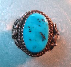 Native American Jewelry Mens Turquoise Ring Signed RB Navajo Style  Vintage Sterling Silver