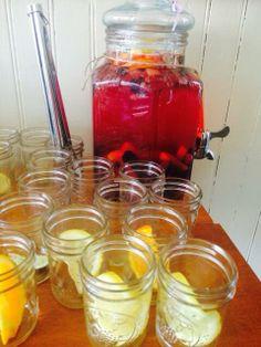 white wine sagria + mason jar glasses