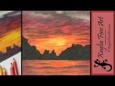 Tutorial: how to draw a sunset in coloured pencils - YouTube