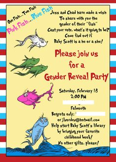 cute gender reveal party invite
