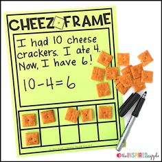 This FREE printable contains three differentiated activity mats to use with cheese crackers as manipulatives! Use the large space to write number sentences create number stories make number bonds write equations count or whatever else you can think o Preschool Math, Math Classroom, Kindergarten Math, Fun Math, Maths, Math Math, Preschool Ideas, Classroom Ideas, Teaching Numbers