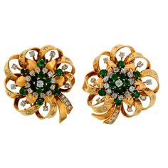 Van Cleef & Arpels Emerald Diamond Yellow Gold Clips / Pin / Brooch c.1940s