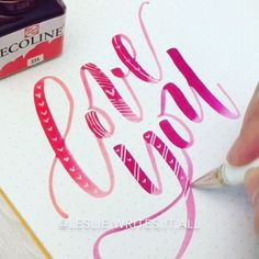 Ain't nobody got time for Valentine's Day! 😂 Seriously though we are very light on the Vday celebrations. We take turns making dinner (it's his year this year 🎉) and we exchange cards. Here's to hoping you all feel the love every single day 🥂 🍾. . . Marker: Ecoline brush pen dipped in Ecoline watercolor Paper: Rhodia dot pad Pen: @uniball_uk Signo white gel pen (would have showed up even better if I waited for the ink to dry 🙈) @calligrabasics #cb_redwhitepink