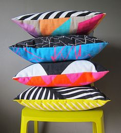 Geometric cushions with black and white  and multi-color design by Kapitza
