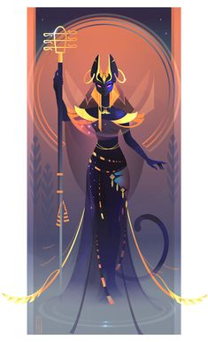 Beautiful Illustrations Of Ancient Egyptian Gods And Goddesses by Yliade: Bastet – Goddess Of Domesticity, Women's Secrets, Cats And Fertility Bastet Goddess, Goddess Art, Mythology Art, Fantasy Art, Egyptian Art, Deities, Egyptian Deity, Art, Mythology