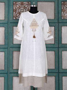 Shop Simple white linen kurti online from India. Simple Kurti Designs, Kurta Designs Women, Blouse Designs, Linen Dress Pattern, Linen Tunic, Abaya Fashion, Fashion Dresses, Designer Kurtis Online, Kurti Embroidery Design