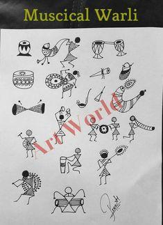 Musical warli Worli Painting, Pottery Painting, Fabric Painting, Acrylic Paintings, Tribal Drawings, Tribal Art, Art Drawings, Madhubani Art, Madhubani Painting