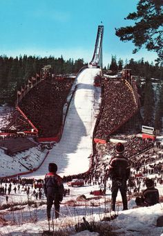 The Holmenkollbakken ski jump, Oslo, Norway, circa 1960 Iron Mountain Michigan, Ski Vintage, Olympic Venues, Norway Oslo, Go Skiing, Ski Jumping, Cross Country Skiing, Winter Olympics, Vintage Ski