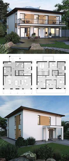 Moderne Stadtvilla Neubau klassisch mit Walmdach Architektur & Grundriss quadratisch mit offener Küche - Haus bauen Ideen Fertighaus ELK Haus 220 - HausbauDirekt.de