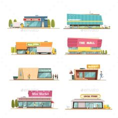 Store Buildings Set by macrovector Store buildings set with mall and local shop symbols cartoon isolated vector illustration. Editable EPS and Render in JPG format