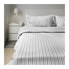HÖSTÖGA Duvet cover and pillowcase(s), stripe, gray - stripe/gray - Full/Queen (Double/Queen) - IKEA