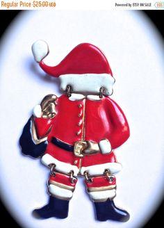 CIJ SALE Santa Claus vintage brooch Christmas by JNPVintageJewelry