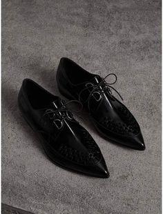 0b2b969ea Woven-toe Polished Leather Derby Shoes in Black - Women