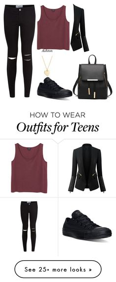 """""""Untitled #626"""" by samantha1-a on Polyvore featuring New Look, Monki, Converse and Chicsense"""