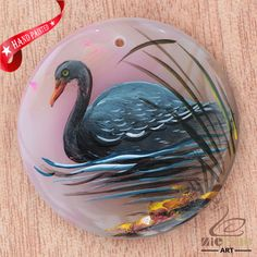 HAND PAINTED BLACK SWAN CHALCEDONY GEMSTONE NECKLACE PENDANT ZL80 20040 #ZL #PENDANT