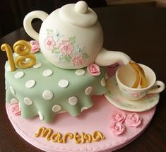 Vintage tea party novelty birthday cake from Bedford cake maker