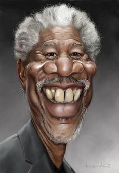 Morgan Freeman Cartoon Caricature ~Love the teeth in this one! :)