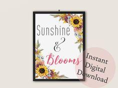 Sunshine & Blooms Art Print   Bedroom, Living Room, Dorm Room Decor by TheArtPrintStudio on Etsy Stationery Shop, Office Art, Dorm Room, Printable Art, Online Printing, Sunshine, Bloom, Room Decor, Art Prints