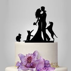bride and groom silhouette wedding cake topper, dog cake topper Funny Wedding Cakes, Funny Wedding Cake Toppers, Personalized Wedding Cake Toppers, Wedding Topper, Bride And Groom Cake Toppers, Silhouette Wedding Cake, Bride And Groom Silhouette, Silhouette Cake, Black Silhouette