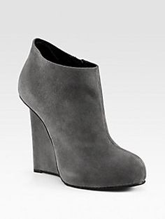 Giuseppe Zanotti - Cenere Suede Wedge Ankle Boots