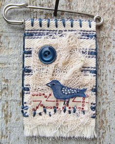 Blue Bird Kilt Pin Fabric Brooch | peaceofpi studio