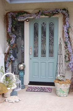 My summer front door 2013.  Notice that I just finished painting the door.  I painted it with Anne Sloan's duck egg blue chalk paint.