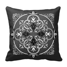 Arabesque Islam Persian Art B&W Decorative Pillow Pillows
