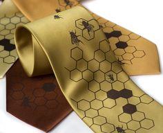 "Honeybee silkscreened men's necktie, ""Oh Honey"" beehive tie, chocolate brown ink. Microfiber.. $30.00, via Etsy."
