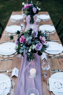 33 Lavender Wedding Decor Ideas You Will Love Wedding Table Centerpieces, Wedding Table Settings, Floral Centerpieces, Wedding Decorations, Wedding Tables, Wedding Rings Sets His And Hers, Wedding Dress Sleeves, Gown Wedding, Wedding Dresses
