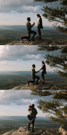 This proposal on the edge of a cliff is unbelievable! He chose the perfect spot … This proposal on the edge of a cliff is unbelievable! He chose the perfect spot to pop the question after their hike, and the photos are gorgeous. Before Wedding, Wedding Tips, Wedding Engagement, Engagement Photos, Wedding Events, Wedding Locations, Diy Wedding, Wedding Hacks, Engagement Ideas