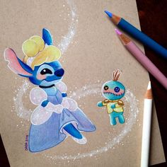 Stitch Invades Various Disney Movies In My Drawings Hi my name is dada, I love drawing character mash-ups. I also love Disney's character Stitch. Below are a few character mash-ups done with colour pencils. Cute Disney Drawings, Love Drawings, Art Drawings, Disney Paintings, Disney Artwork, Disney Stitch, Lilo Stitch, Stitch Drawing, Cute Stitch